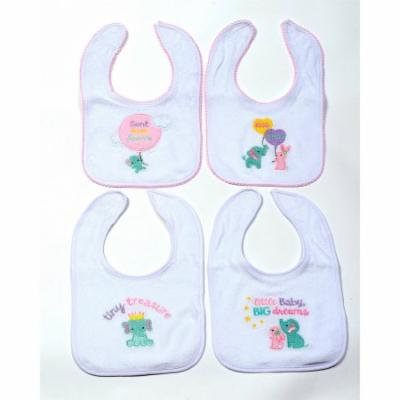 Girls Threaded Icon Bibs, Pack of 4