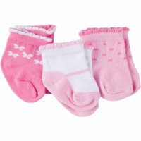 Gerber Newborn Baby Girl Ankle Bootie Socks, 3-Pack