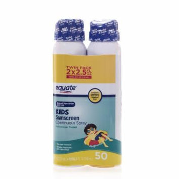 Equate Kids Travel Size Continuous Spray Sunscreen, SPF 50 (Pack of 2)
