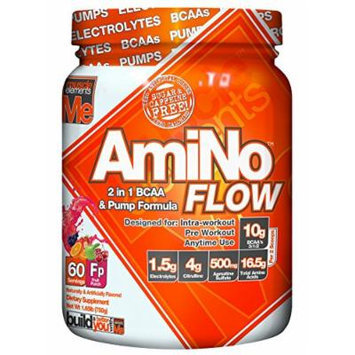 Muscle Elements Amino Flow, Multi-Purpose BCAA & Nitric Oxide Booster for Muscle Fullness, Endurance and Protein Synthesis, Fruit Punch, 60 Serving