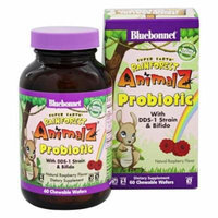 Bluebonnet Nutrition - Super Earth Rainforest Animalz Probiotic Natural Raspberry - 60 Chewable Wafers