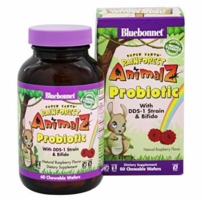 Bluebonnet Nutrition - Super Earth Rainforest Animalz Probiotic Natural Raspberry - 60 Chewable Wafers