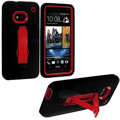 myLife Brand Products myLife Black + Red Shockproof Armor (Built In Kickstand) Body Glove Case for HTC One M7, Google Play Edition