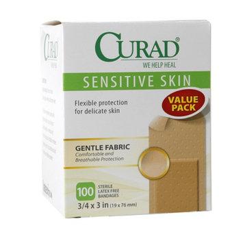 Curad Sensitive Skin Gentle Fabric Sterile Latex-Free Bandages, 3/4 x 3 inch (19 x 76 mm), 100 ea