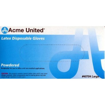Physicianscare Acme United Lightly Powdered Disposable Latex Gloves, Box of 100, Large