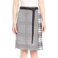 Calvin Klein Collection Runway Houndstooth & Plaid Silk Skirt