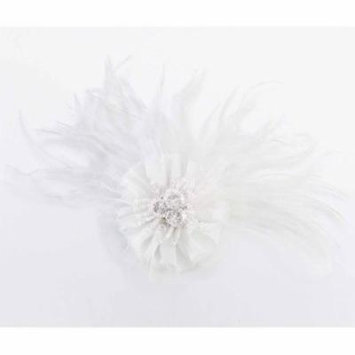 Marabou Feather Hair Clip, White
