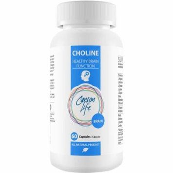 Carson Life Brain Choline Healthy Brain Function Dietary Supplement Capsules, 60 count