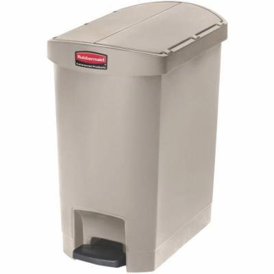 Rubbermaid Commercial Slim Jim End Step Style 8 gal. Resin Step-On Container, Beige