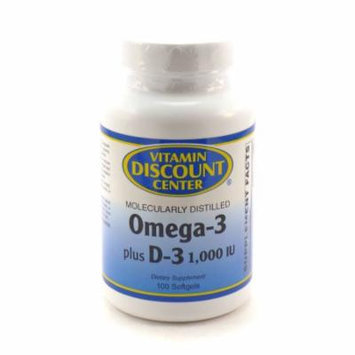 Omega-3 Plus D-3 1000 iu By Vitamin Discount Center - 100 Softgels