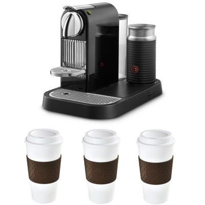 Nespresso Espresso Maker w/Aeroccino Milk Frother Reusable To Go Mug 3-Pack (Brown) Bundle