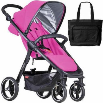 Phil & Teds Smart Buggy Baby Stroller With Diaper Bag - Raspberry