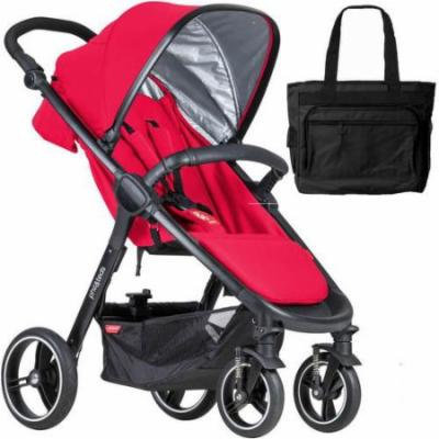 Phil & Teds Smart Buggy Baby Stroller With Diaper Bag - Cherry