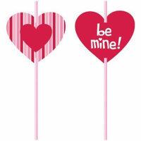 Valentine Heart Straws w/Paper Insert 6 Per Pack