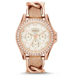 Fossil Women's Riley ES3466 Rose-Gold Leather Quartz Watch