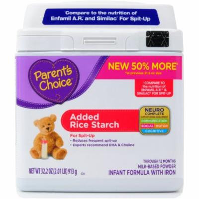 Parent's Choice Added Rice Starch Infant Formula with Iron, 32.2 oz