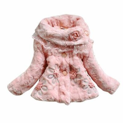 Allegra K Girl's Winter Flower Decor Sequin Decor Warm Coat Pink (Size 3T)