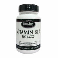 Vitamin B-12 500 Mcg Dietary Supplement Tablets By Food Plus - 60 Ea