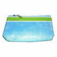 Lancome Blue White and Lime Cosmetic Makeup Bag