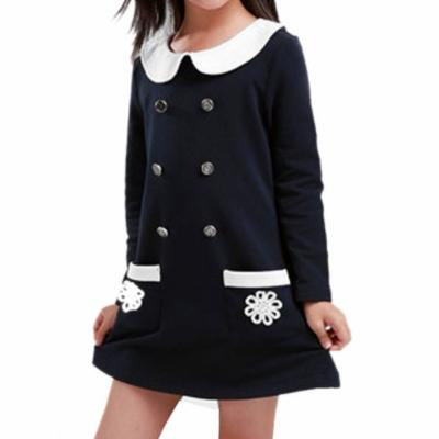 Girl Patch Pockets Front Button Decor Dark Blue Babydoll Dress 3T