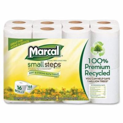 "16466CT Marcal Small Steps Recycled Premium Bath Tissue - 2 Ply - 168 Sheets/Roll - 96 / Carton - 4.20"" x 3.60"" - White - Fiber"