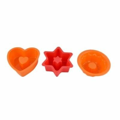 Silicone Handmade Muffin Cake Bread Baking Bakeware Molds Tool Orange Red 3 in 1