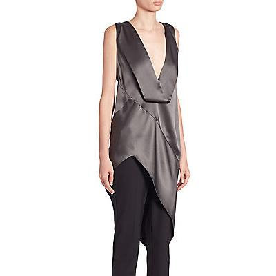 Narciso Rodriguez Long Asymmetrical Silk Blouse - Graphite