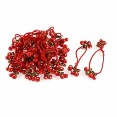 Cherry Decor Elastic Hair Ties Bands Holders Red 12 Pcs