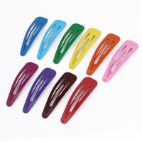 Girls Lady Beauty Fashion Metal Snap Hair Clips Hairpin 67mm 10 Pcs Mixed Color