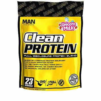 MAN Sports Clean Protein, Full Disclosure Protein Blend, Unicorn Milk, 1.6 Pounds