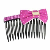 Dots Printed Bowknot Fuchsia Rhinestone Accent Black Plastic Hair Comb 3.5