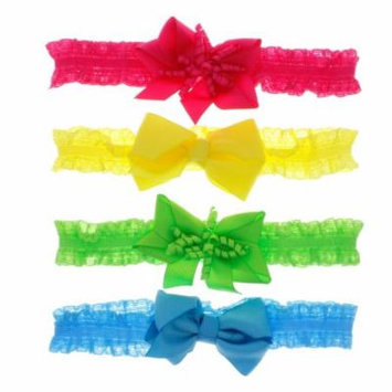 Greatlookz Little Fashionista Lace and Bow Headband Set