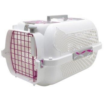 Hagen Catit Style Pink Ribbon Voyager Small Cat Carrier in White