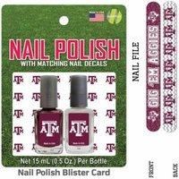Bundle 2 Items: Texas A University Nail Polish Team Colors with Nail Decals & Nail File