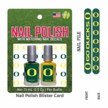 Bundle 2 Items: University of Oregon Nail Polish Team Colors with Nail Decals & Nail File