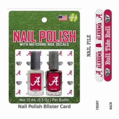 Bundle 2 Items: University of Alabama Nail Polish Team Colors with Nail Decals & Nail File