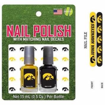 Bundle 2 Items: University of Iowa Nail Polish Team Colors with Nail Decals & Nail File