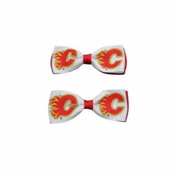 Calgary Flames Hair Bow Pair