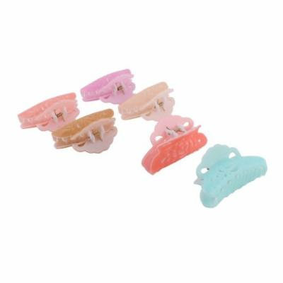 Ladies Women Plastic Flower Hollow Out Design Hairclips Hair Claw Clip 6pcs