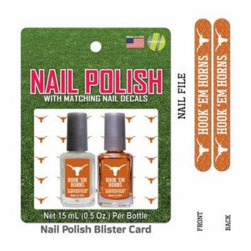 Bundle 2 Items: University Of Texas Nail Polish Team Colors with Nail Decals & Nail File