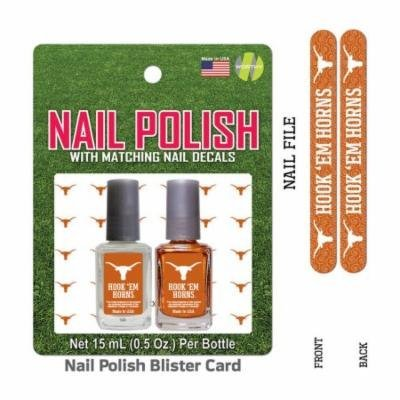Bundle 2 Items: University Of Texas Nail Polish Team Colors with Nail Decals & Nail File