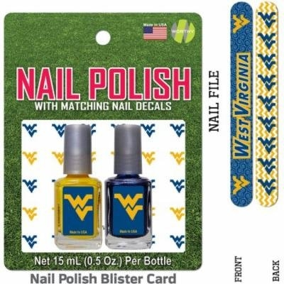 Bundle 2 Items: West Virginia Nail Polish Team Colors with Nail Decals & Nail File