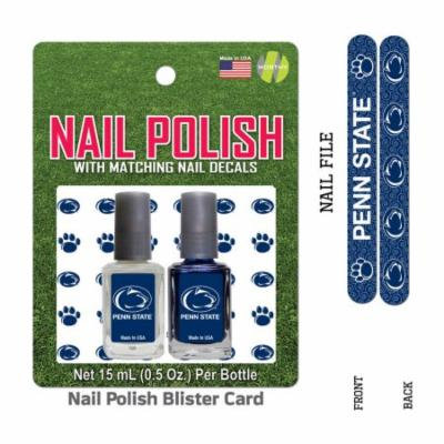 Bundle 2 Items: Penn State Nail Polish Team Colors with Nail Decals & Nail File
