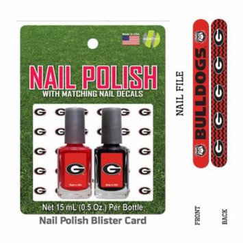 Bundle 2 Items: University Of Georgia Nail Polish Team Colors with Nail Decals & Nail File
