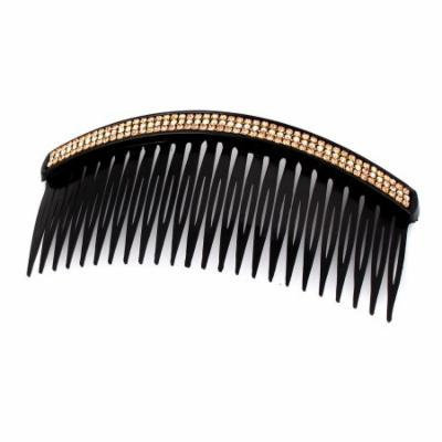 Wedding Bridal Party Crystal Rhinestone Decor Hair Comb Hairpin Black Gold Tone