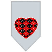 Mirage Pet Products 66-115 SMGY Argyle Heart Red Screen Print Bandana Grey Small