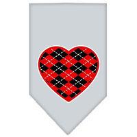 Mirage Pet Products 66-115 SMGY Argyle Heart Red Screen Print Bandana Grey Small