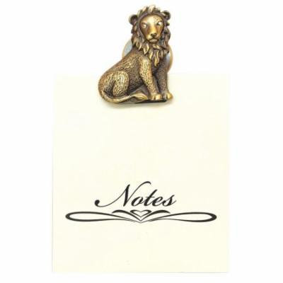 Greatlookz All For Giving Lion Memo Note Pad with Magnetic Clip, Brass