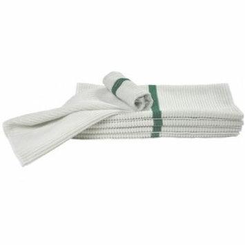 Nouvelle Legende® 14 X 18in Ribbed Bar Mop Microfiber Towels (12 Pack) Green Stripe