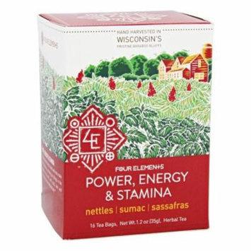 Four Elements Herbals - Organic Herbal Tea Power, Energy and Stamina - 16 Tea Bags